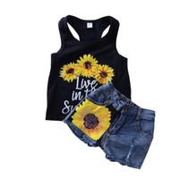 mini girasoles al por mayor-2018 Ins Summer Girls ropa conjuntos trajes girasol carta Tank + denim mini Shorts 2pcs establece al por mayor