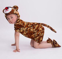 Wholesale dancing cow - 2018 New style children Cosplay Tiger cow goat Animal perform Sequins clothing Boys and girls Dance Conjoined clothes long style