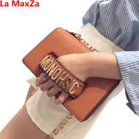 ingrosso fake borsa delle donne-La MaxZa Fashion Luxury Fake Designer Handbags per Donna Metal Letter Borse in pelle Clutch Female Shoulder Bag 2018 Sac a Main