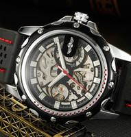 ingrosso orologio da polso di gomma di modo-2018 New Winner Black Rubber Band Automatic Skeleton Orologio meccanico per uomo Fashion Gear orologio da polso Reloj Army Hombre Horloge