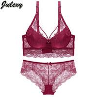 roter, transparenter bh großhandel-Julexy Brand New 2018 Sexy C D frauen bh set Spitze aushöhlen panty unterwäsche gesetzt Rot Schwarz Beige transparent bh kurze sätze