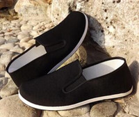 Wholesale wholesale kung fu - Top Quality Black Cotton Shoes Bruce Lee Vintage Chinese Kung Fu shoes Wing Chun Tai Chi Slipper Martial Art Pure Cotton Shoes