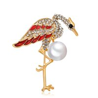 Wholesale good brooches resale online - New Arrival Cute Crane Brooch Pin Pearl Retro Brooches for Women Fashion Cute Brooch Pin Good Gift Broch