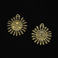 pingentes de sol de liga de zinco venda por atacado-20 pcs liga de zinco encantos de bronze antigo banhado a sun sunburst encantos para fazer jóias diy handmade pingentes 34 * 29mm