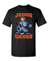ingrosso pullover sport di marca-New Jesus Saves Hockey Puck Sports Jersey Divertente DT adulto T-Shirt Tee 2018 t shirt a manica corta da uomo fashion brand design 100%
