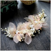 ingrosso accessori per capelli di filato-2019 New Silk Yarn Beautiful Flower Sposa Copricapo Bellezza Sposa Accessori per capelli da sposa Ornamento per capelli