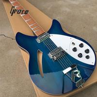 pastillas de guitarra oem string al por mayor-Guitarra eléctrica premium de 12 cuerdas Rick 360, accesorios coreanos, centro medio vacío, puente R, color se puede personalizar