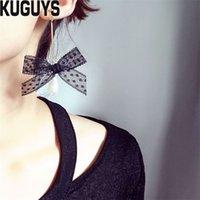 ingrosso orecchini di pizzo neri-KUGUYS Moda gioielli alla moda carino nero bianco pizzo bowknot lungo ciondola gli orecchini per le donne goccia d'acqua orecchino brincos accessori del partito