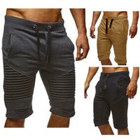 spor giyim pantolon toptan satış-Artı Boyutu M-3XL Erkek Joggers Erkek Harem Pantolon Rahat Diz Boyu Spor Giyim Giyim Kısa Pantolon Sweatpants