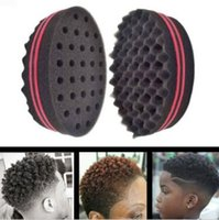 Wholesale Hair Style Afro - Magic Double Head Sponge Men Barber Hair Brush Black Dreads Locking Afro Twist Curl Coil Brush Hair Styling Tools Hair Care CCA8595 120pcs
