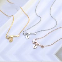 Wholesale Lobster Clasp Key Chain - Titanium steel key clover necklace pearl shell rose gold pendant women's jewelry wholesale a generation of hair