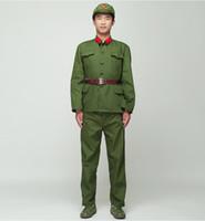 filme de televisão venda por atacado-Norte-coreano Soldado Uniforme Vermelho guardas desempenho verde traje cinema filme Eight Route Army Outfit Vietnã Militar