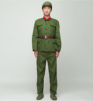 Wholesale traditional chinese costumes for sale - North Korean Soldier Uniform Red guards green performance costume stage film television Eight Route Army Outfit Vietnam Military