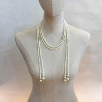 Wholesale Long Beaded Necklace Designs - Elegant Long Imitation  Faux Pearl knotted Design Necklace with Alloy Crystal Charm