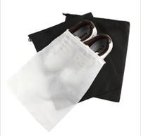 ayakkabı çekme iğnesi çantası toptan satış-Ayakkabı Için taşınabilir Seyahat Saklama Çantası dokunmamış İpli Ayakkabı Çanta Giysi UnderweaPortable Seyahat Depolama r Kılıfı Organizatör Beyaz Siyah