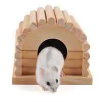 hamster de madeira venda por atacado-Esquilo Totoro Ninho Suprimentos de Animais Naturais De Madeira Hamster Gaiola Casa New Hot Sale 7 5za C R
