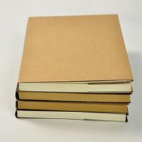 dibujo coreano al por mayor-DIY Sketch Book Retro Kraft Travel Journal Cuaderno de bocetos en blanco Graffiti Cuaderno para pintar Dibujo Papelería coreana Útiles escolares Regalo