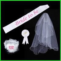 Wholesale wedding shoulder accessories online - Single Party Wedding Supply Bride To Be Shoulder Straps Leg Circle Badge Sash Suit Lace Set White Rosette Mantilla ap gg