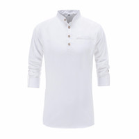 Wholesale clothes chinese style men for sale - 2018 Summer Men Cotton Shirt Long Sleeve Mandarin Collar Slim Fit Shirt Mens Breathable Chinese Style Dress Shirts Men Clothes