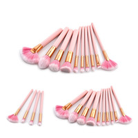 Wholesale synthetic makeup brushes pink resale online - High Quality Wood Handle Pink Color Makeup Brushes Sets for Foundation Powder Blush Face Lip Eye Brush Kits
