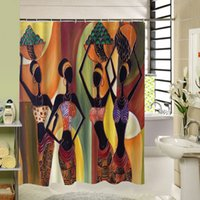 cortinas de chuveiro de qualidade venda por atacado-Novo design personalizado de alta qualidade diferente Waterproof Banheiro Mulher Africano cortina de chuveiro poliéster cortina de banho