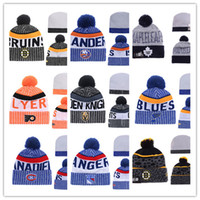 Wholesale Orange Black Beanie - 2017 Beanie Hats Men Knitted NHL Wool Hat Gorro Bonnet with San Jose Sharks Beanie Boston Bruins Pittsburgh Penguins Winter Warm Cap