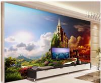 ölgemälde schloss landschaft großhandel-Schlossölgemälde-Landschaftsfernsehhintergrundwand unter schönen Dekorationsdesignern der Sonnenuntergangwandpapiere