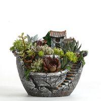 ingrosso ornamenti da pentola da giardino-Resina giardino cactus pianta succulenta erba fioriera fioriera vivaio vasi casa arredamento camera ornamento giardino forniture
