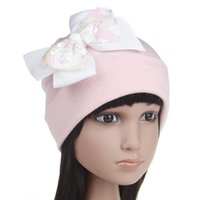 Wholesale infant ear muffs for sale - Group buy Baby girls hat glitter children sequins Bows princess hat boutique infant kids knitting hat beret fashion baby cotton soft beanies YA0117