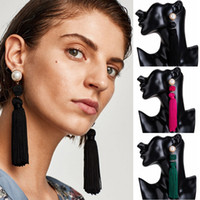 Wholesale rope studs - Fashion Bohemian Jewelry Gifts Rope Knot Long Tassel Stud Earrings Vintage Ethnic Pearl Fringed Earring For Women Girls Free DHL H426R