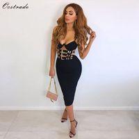 kadın elbisesi siyah gece kulübü toptan satış-Ocstrade Gece Kulübü Siyah Bandaj Elbise Yeni Seksi 2018 Kadın Moda V Boyun Bandaj Bodycon Elbise Kulübü Parti Kuşaklı