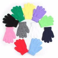 ingrosso guanti invernali invernali-5-13T Kids Knit Winter Guanti Boys Girls Finger Gloves Solid Pure Color Stretch Mittens Cute Child guanti per maglieria guanto caldo Guanti per sci