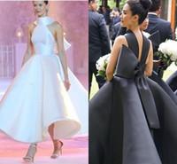siyah beyaz pist elbiseleri toptan satış-2019 Son Pist Abiye Halter Yüksek Boyun Backless Büyük Yay Ayak Bileği Uzunluk Saten Beyaz Siyah Balo Parti Kırmızı Halı Abiye Vestidos