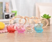 Wholesale apple perfume bottles for sale - Group buy Hot sale Apple Shape Glass Perfume Pendant Car styling Auto Ornament Colorful Empty Air Freshener For Essential Oils Car Perfume Bottle