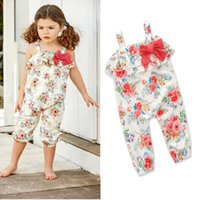Wholesale girls clothes size 12 months - Baby girls Floral Rompers INS Flowers print Jumpsuits 2018 new summer fashion kids Boutique clothes 2 colors C3535