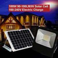 panel reflector al por mayor-Reflector solar 100W 50W 30W 90-100LM AC100-240V Panel de celda de energía Adaptador eléctrico Batería de carga Al aire libre a prueba de agua lámparas industriales