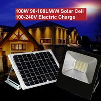 Solar Floodlight 100W 50W 30W 90-100LM AC100-240V Power Cell Panel Electric Adapter Charge Battery Lámparas industriales a prueba de agua al aire libre