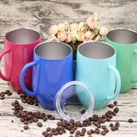 Wholesale Travel Mugs Handles - 12 oz Egg Cup wine glass With Handle Stainless Steel Egg Shaped Wine Travel Beer Mugs Tumbler U-shaped cup KKA4049