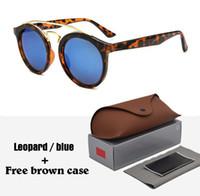 Wholesale orange box design - 4256 Brand sunglasses men women fashion Retro brand design round sun glasses uv400 Goggle gafas de sol With free brown cases and box