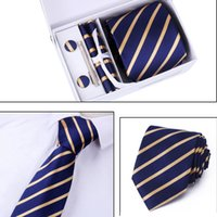 c1009862af6f New Brand High Quality Ties Set for Men 8CM Cufflink Pocket Square Tie  Striped Wedding Formal Clips Handkerchief Men Neckties