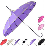 Wholesale pagoda rain parasol resale online - 8 Colors Retro Pagoda Umbrellas Parasol Umbrella Sun Rain UV Protection Umbrella Retro with Hook Handle Peak Sun Rain Umbrella