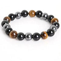 Wholesale obsidian bracelet men resale online - Beads Bracelets Tiger Eye Hematite Black Obsidian Stone Bracelet Jewelry for women Gift Men Tiger Eye Stone Bracelet
