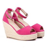 ingrosso sandali della piattaforma della boemia-Plus Size Bohemian Women Sandals Tracolla Zeppa Piattaforma Zeppe Per Scarpe Donna Flock Tacchi alti Tacco Sandalo con tacco