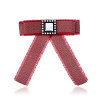 Wholesale Wholesale Mosaic Clothes - Promotion canvas Crystal Mosaic Pin Brooch jewelry Manual Bow Brooch for Women Clothing Accessories four color wholesale 2018 new style