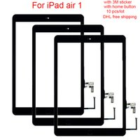 Wholesale generation sticker - 10pcs Tested Replacement For iPad Air Generation A1567 A1566 White Touch Screen Digitizer Glass Lens   3M sticker home button