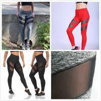 Wholesale women compression leggings - Hot Selling Sexy with Mesh Womens Yoga Pants Compression Running Tights Woman Trousers Yoga Leggings Breathable Lady Sport Gym Pencil Pants