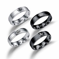 Wholesale ring men king - his queen her king lines 316L Stainless Steel black Imitation Rhodium Plated European and American style lovers men and women rings gift