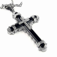 Wholesale byzantine crosses for sale - Group buy Cross Pendant Men s Necklace Stainless Steel Byzantine Chain Gold Silver Color Jewelry Rhinestone Crystal Pendant Ncklace