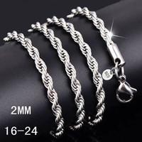 jade retorcido al por mayor-16-30 pulgadas 2 MM 925 collar de cadena de cuerda trenzada de plata esterlina Para las mujeres moda joyería de bricolaje