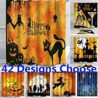 Wholesale cat shower curtains resale online - Halloween Curtains Shower Curtain For Skull Pumpkin Elephant Cat Curtain New D Waterproof Bathroom Curtain With Hooks cm HH7